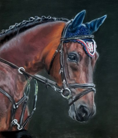 Paardenkunst pastel op pastelmat