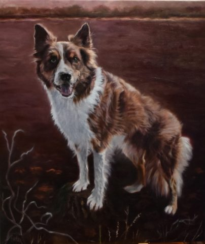 Hondenportret Balou olieverf 60x70cm