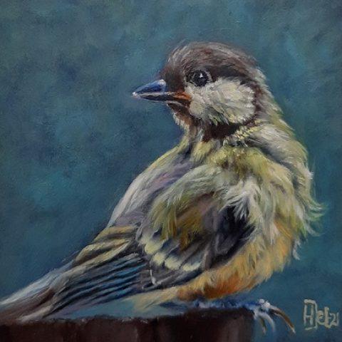 Dierenkunst, vogel, mees 10x10cm olieverf op paneel